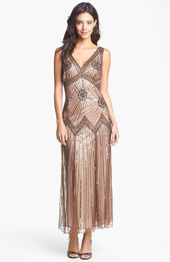 Rose gold vintage v-neck maxi dress