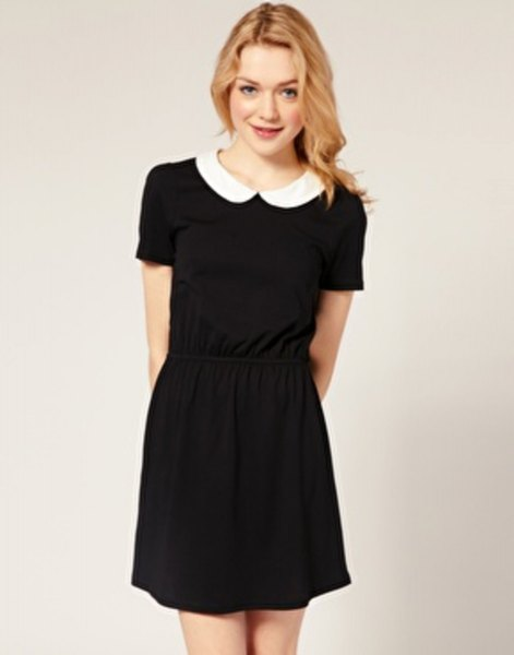 rounded black mini hangover dress with white collar