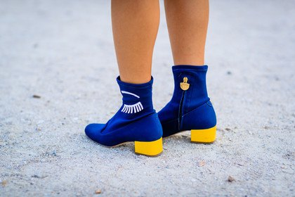 Royal blue and lemon yellow ankle boots with a white mini dress