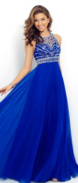 Royal blue and silver sequin fit and flare halter neck dress
