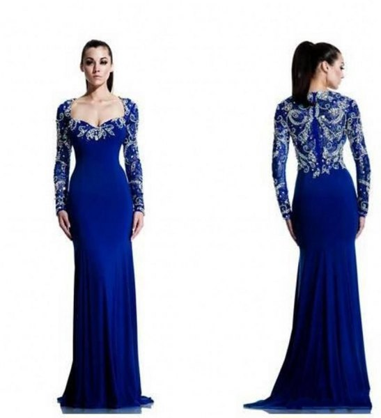 Royal blue and silver floor-length flowing chiffon dress with a V-neck