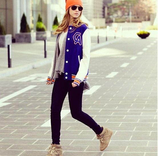 royal blue and white college jacket with chiffon V-neck