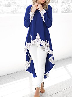 High blue tunic dress made of royal blue and white lace with skinny jeans