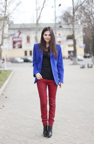 royal blue blazer with red leather pants