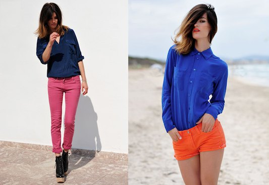 royal blue shirt with buttons and orange shorts