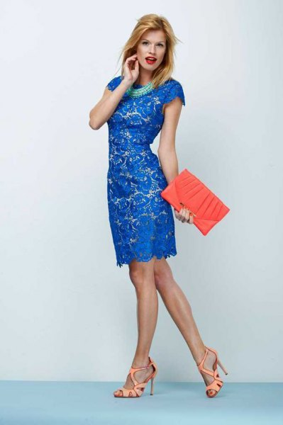 Royal blue knee-length lace dress with cap sleeves