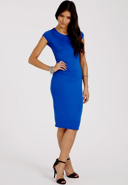 Royal blue midi dress with cap sleeves and black, open toe heels