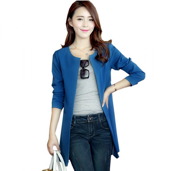 Royal blue casual coat with dark slim fit jeans