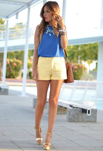 royal blue chiffon vest with yellow and white striped shorts