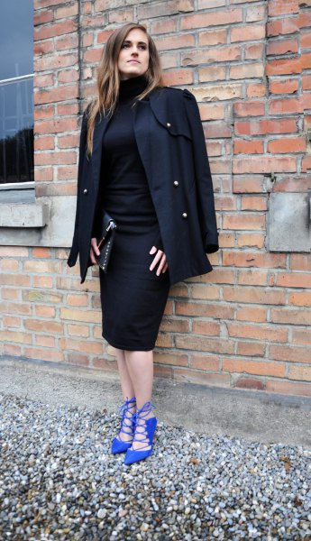 Royal blue heel black coat over the shoulders