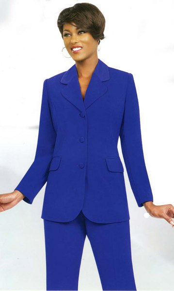 royal blue suit with high collar and black heels