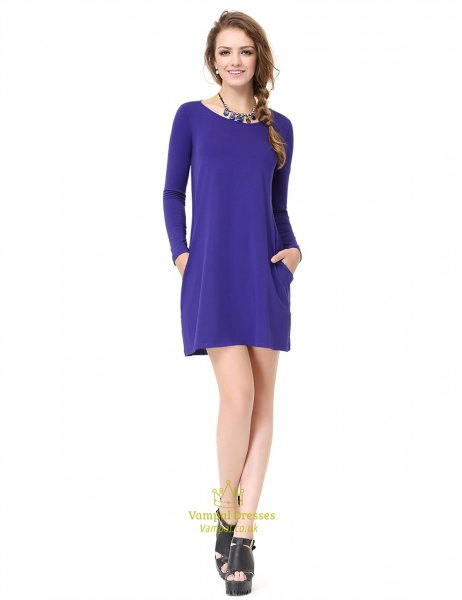 Royal blue long-sleeved mini dress with platform sandals