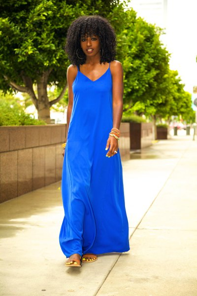 royal blue maxi tank shift dress with flat sandals