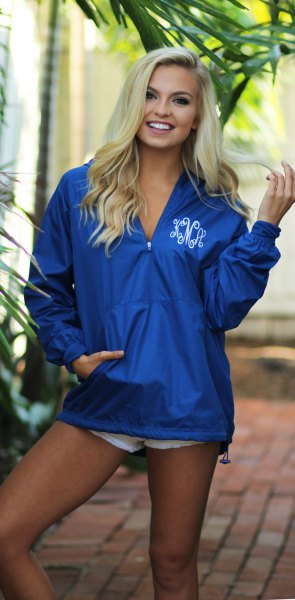 Oversized pullover jacket in royal blue with mini denim shorts