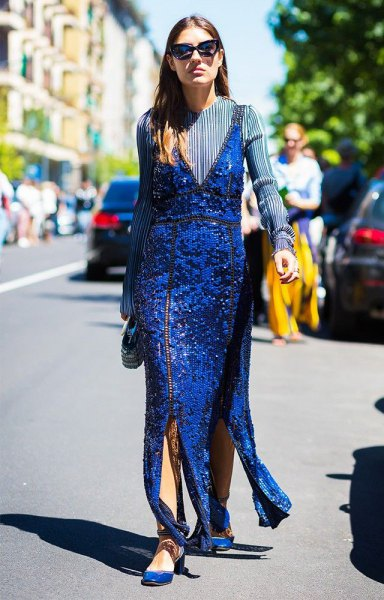royal blue sequin maxi cocktail dress with matching slippers