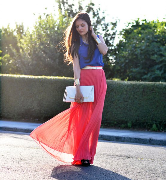 Royal blue sleeveless red pleated maxi skirt