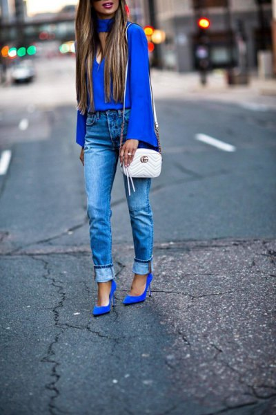 royal blue suede heels choker neck bell sleeve blouse