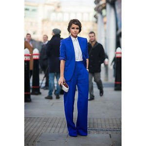 Royal blue suit jacket with white shirt and wide-leg pants
