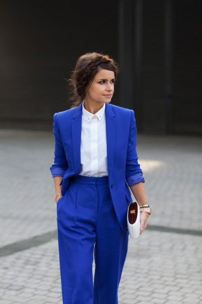 Royal blue suit white shirt with buttons