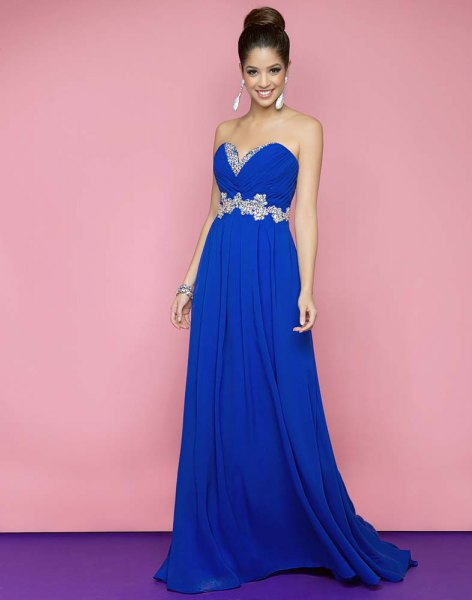 royal blue heart-shaped neckline with belt and long flare
