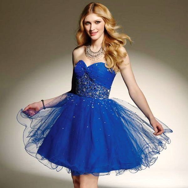 Royal blue mini tulle dress with sweetheart neckline and silver sequin details