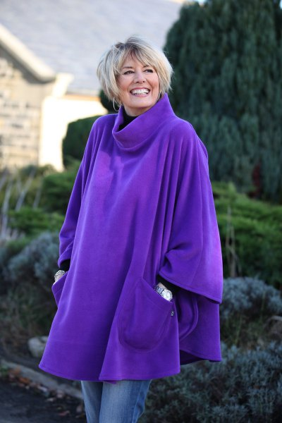 royal blue turtleneck poncho with turtleneck sweater