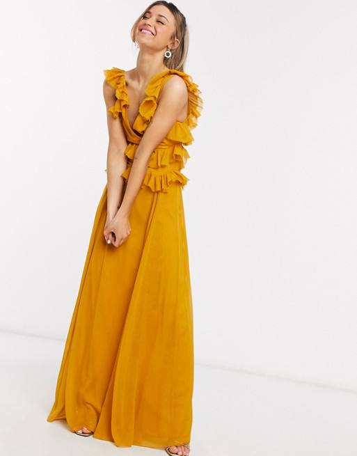 ASOS DESIGN tiered ruffle maxi dress with tie back | AS