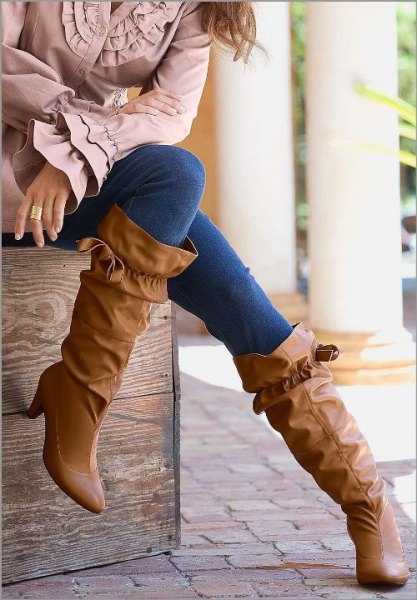Ruffled wide calf boots with bell sleeves on top