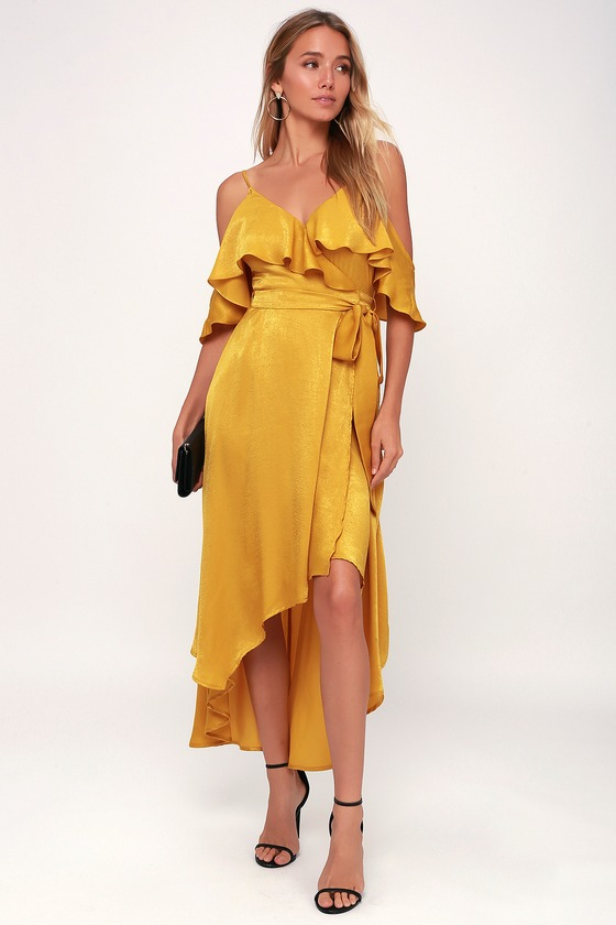 Layla Mustard Yellow Satin Off-the-Shoulder Wrap Dress in 2020 .