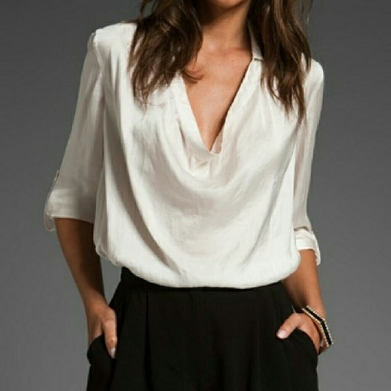 Satin blouse with a cowl neckline