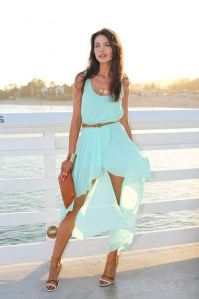 sleeveless, aqua blue, flowing midi dress with scoop neckline and scoop neckline