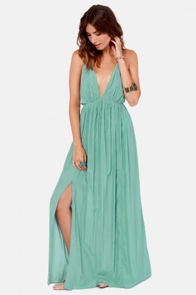 Seafoam Green Deep V-Neck Pleated Maxi Side Slit Dress