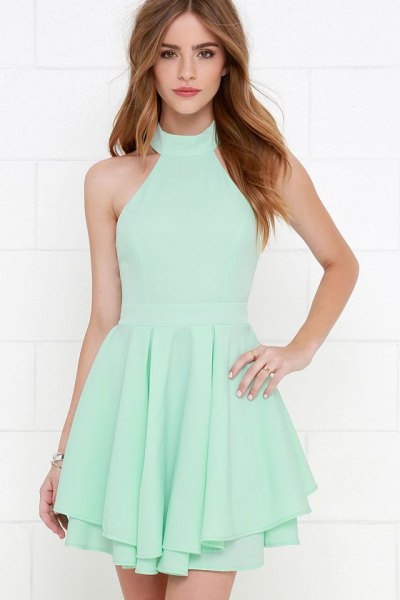 Seafoam Green Neckholder Fit and Flare Mini Pleated Dress