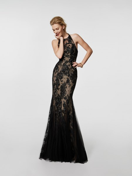 semi-transparent black maxi cocktail dress