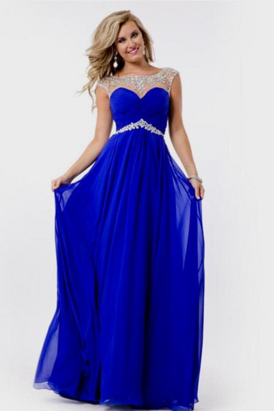 semi-transparent long blue chiffon dress with belt