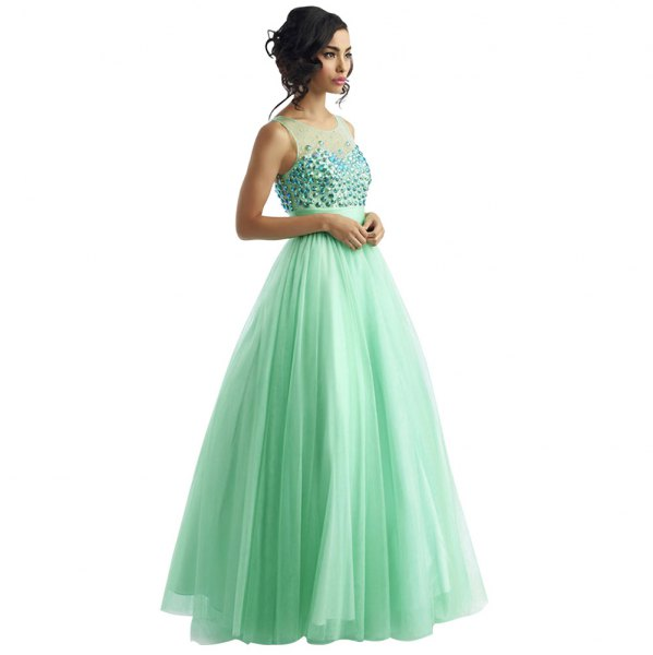 Semi sheer fit and flare mint green floor length evening dress