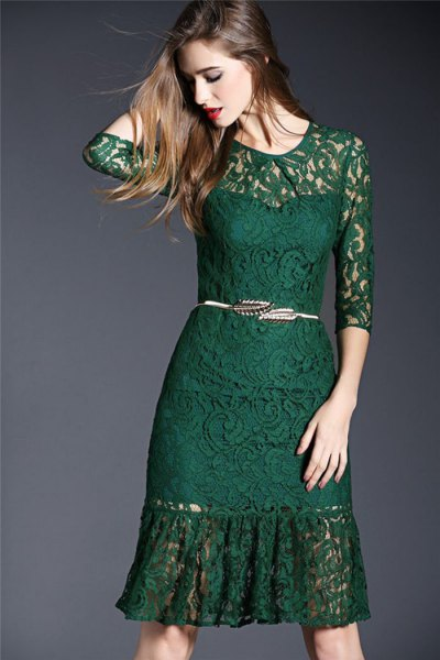 semi-transparent knee-length lace dress with belt and half sleeves