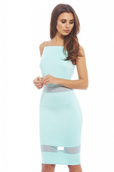 Semi-transparent, figure-hugging midi halter dress
