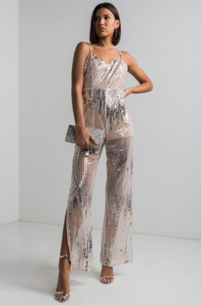semitransparent silver, sparkling overall with wide legs