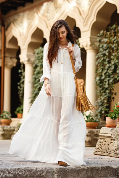 semi-transparent white maxi dress with buttons