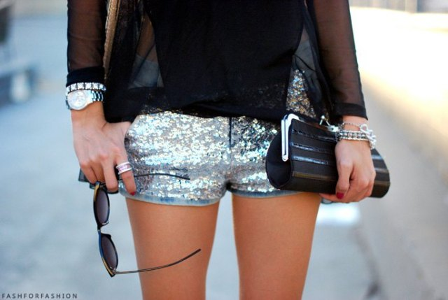 Sequin mini shorts with black chiffon blouse