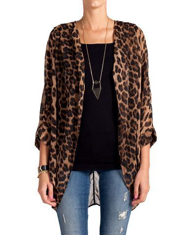 Leopard . I want this so bad!!!! | Sheer cardigan outfit, Sheer .