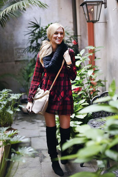 Shirt dress infinity scarf knee high boots