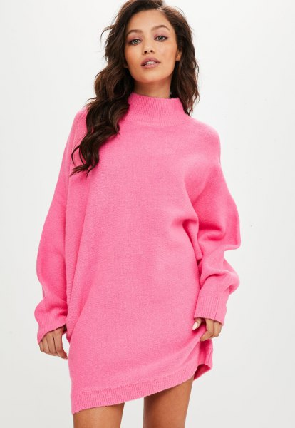 shocking pink batwing sweater dress with a mocked neckline