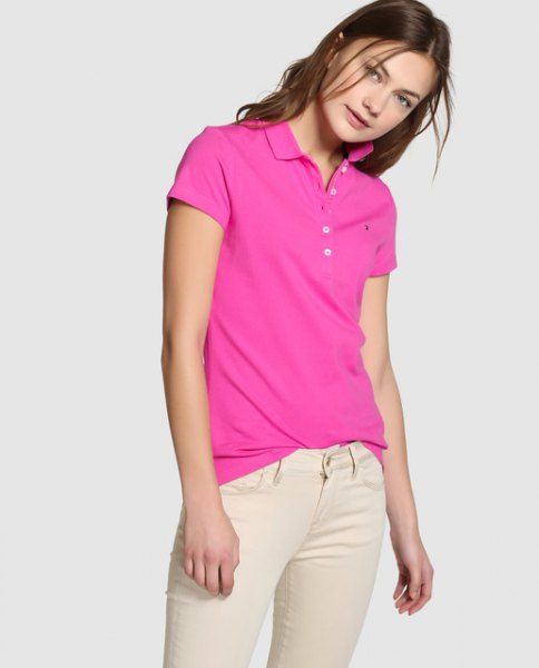 shocking pink polo shirt with ivory-colored skinny jeans