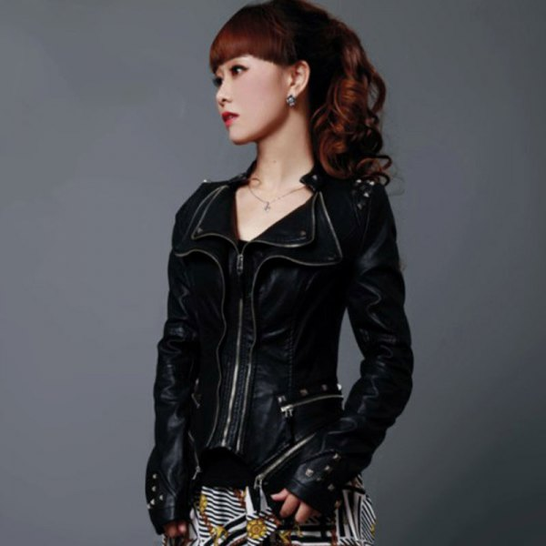 short and slim cut moto jacket with black and white striped mini skirt