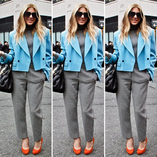 short blazer with checked pants with straight legs