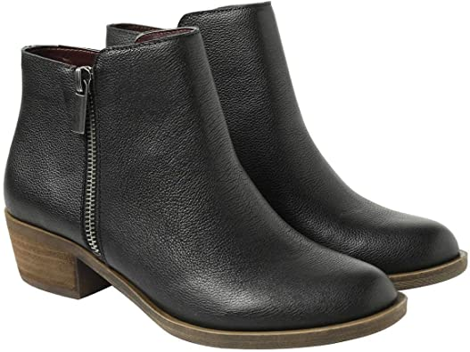 Amazon.com | kensie Women's Black Leather Ghita Short Ankle Boots .