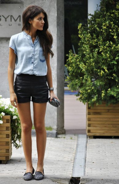 Short sleeve denim shirt leather shorts outfit