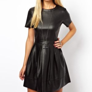 two-piece leather skater dress with short sleeves